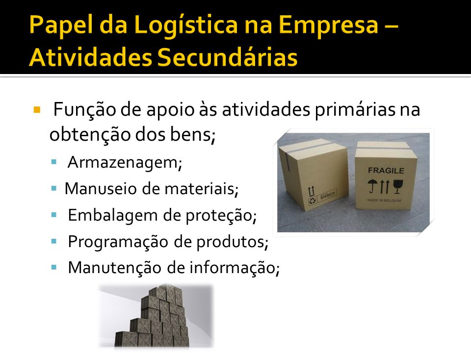 Papel da Logística na Empresa – Atividades Secundárias