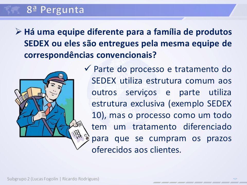 8ª Pergunta Há uma equipe diferente para a família de produtos SEDEX ou eles são entregues pela mesma equipe de correspondências convencionais
