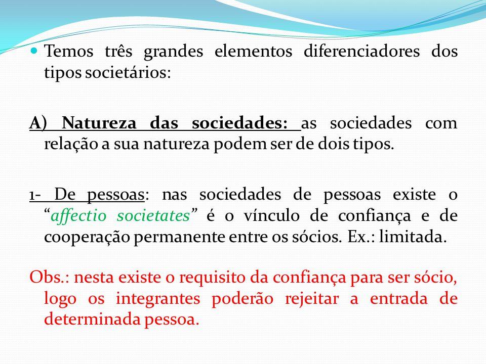 Temos três grandes elementos diferenciadores dos tipos societários: