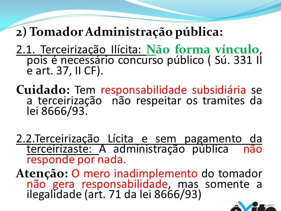 2) Tomador Administração pública: