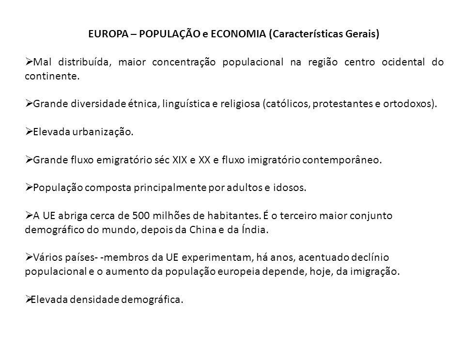 EUROPA – POPULAÇÃO e ECONOMIA (Características Gerais)