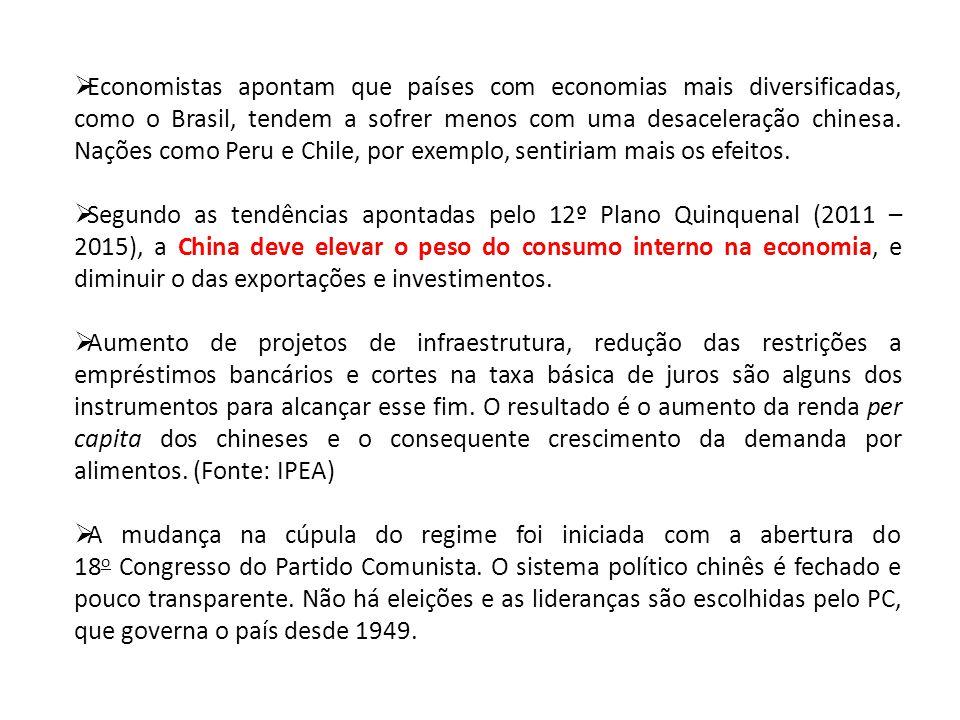 Economistas apontam que países com economias mais diversificadas, como o Brasil, tendem a sofrer menos com uma desaceleração chinesa. Nações como Peru e Chile, por exemplo, sentiriam mais os efeitos.