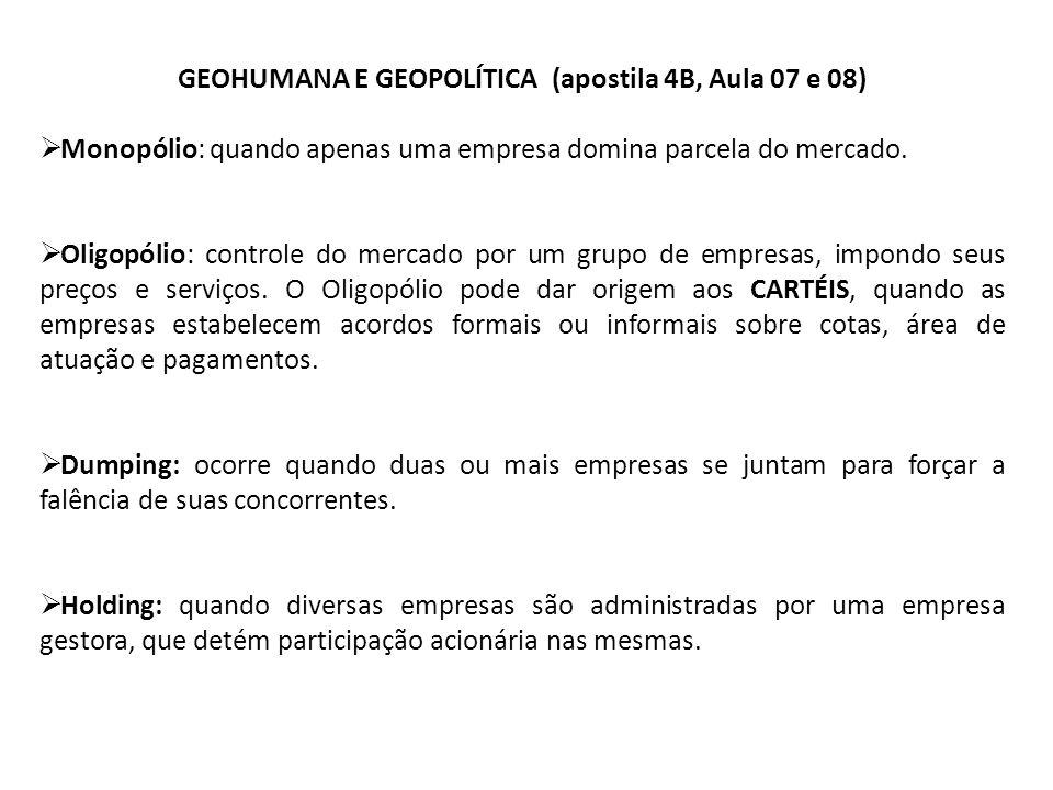 GEOHUMANA E GEOPOLÍTICA (apostila 4B, Aula 07 e 08)