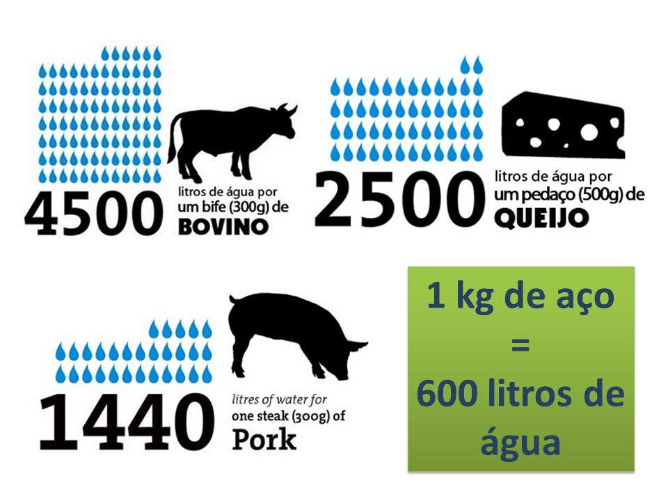 1 kg de aço = 600 litros de água