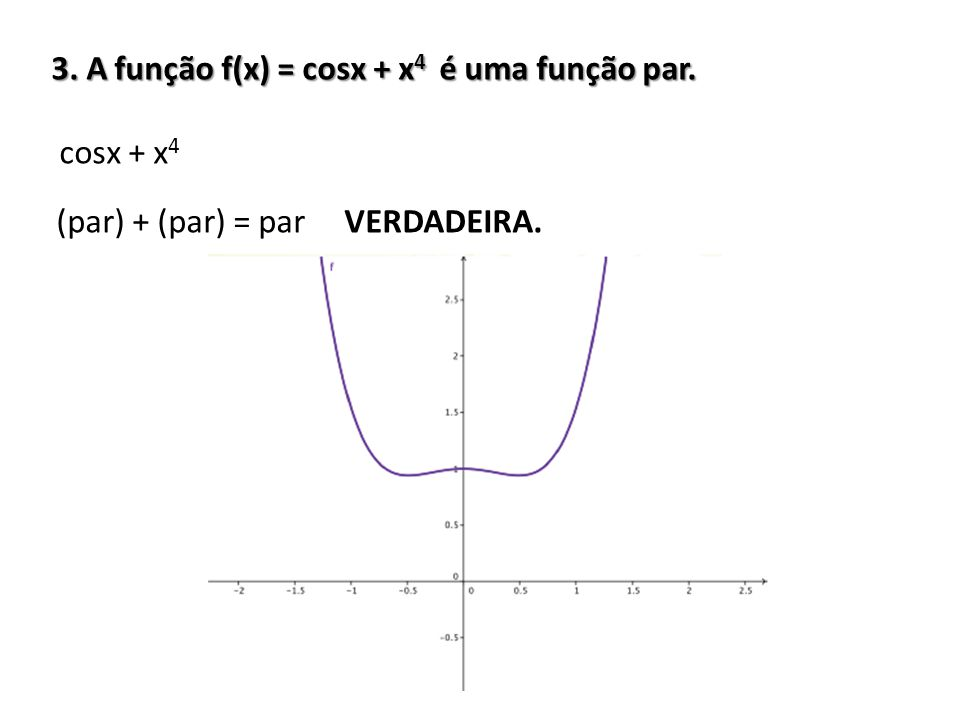 3. A função f(x) = cosx + x4 é uma função par.