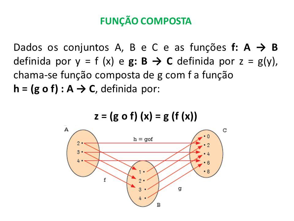 h = (g o f) : A → C, definida por: z = (g o f) (x) = g (f (x))