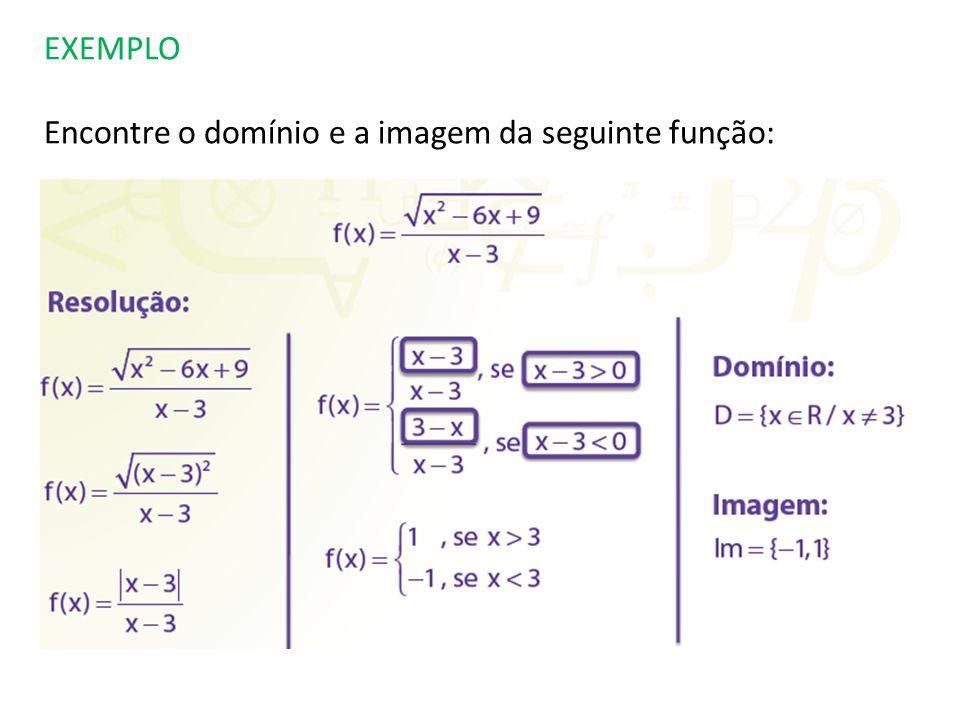 EXEMPLO Encontre o domínio e a imagem da seguinte função: