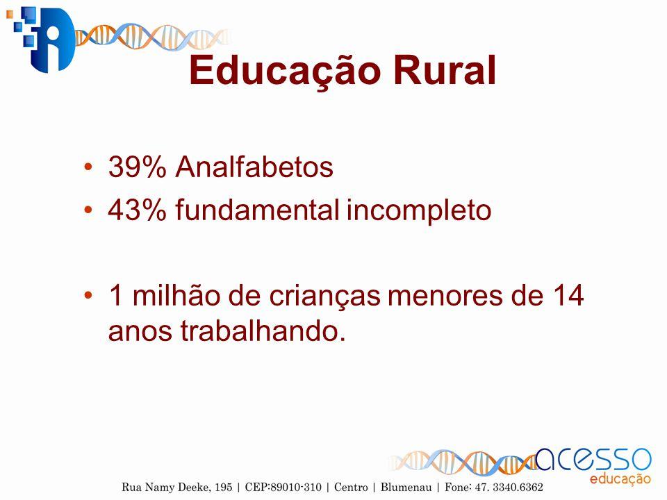 Educação Rural 39% Analfabetos 43% fundamental incompleto