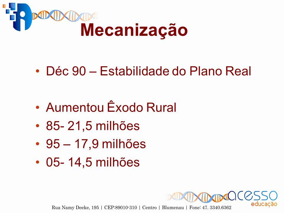 Mecanização Déc 90 – Estabilidade do Plano Real Aumentou Êxodo Rural