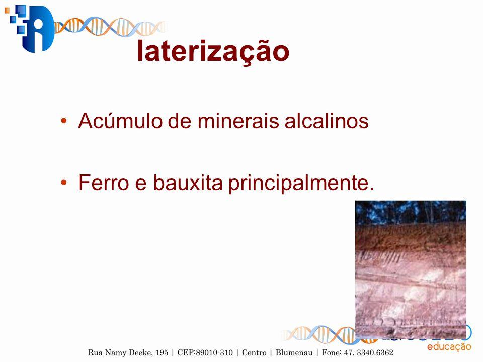 laterização Acúmulo de minerais alcalinos
