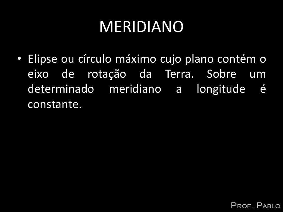 MERIDIANO Elipse ou círculo máximo cujo plano contém o eixo de rotação da Terra.