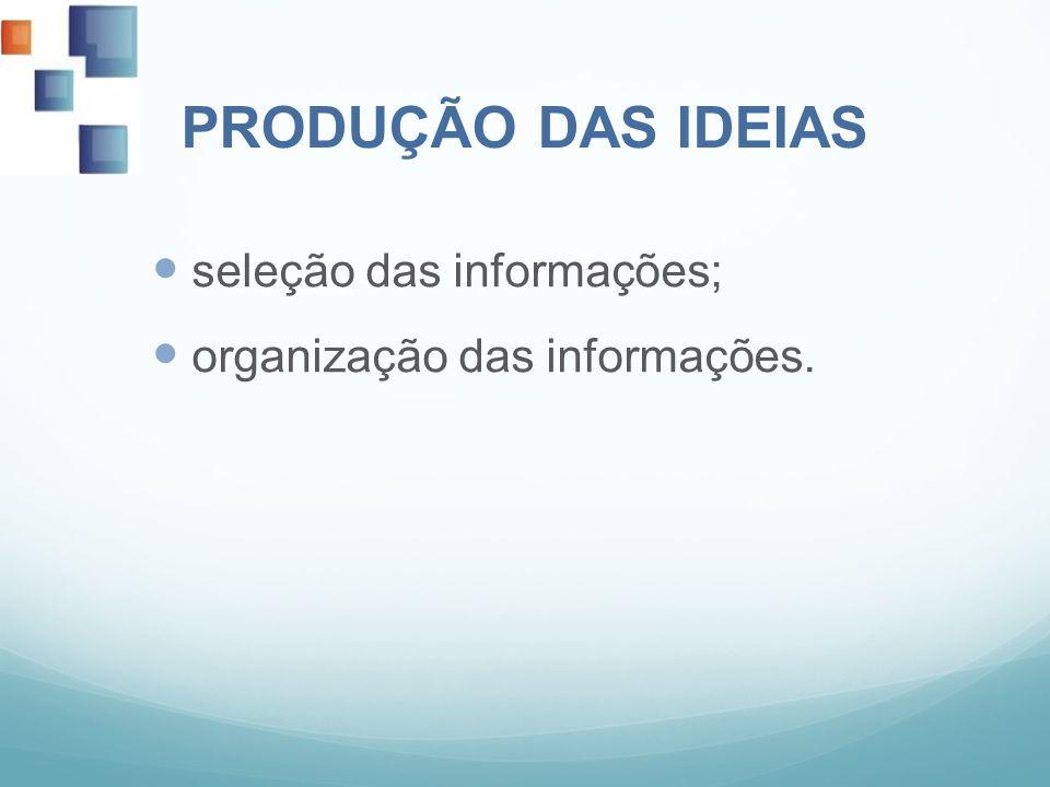 PRODUÇÃO DAS IDEIAS seleção das informações;