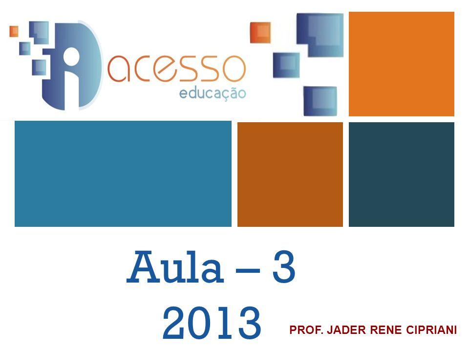 Aula – 3 2013 PROF. JADER RENE CIPRIANI