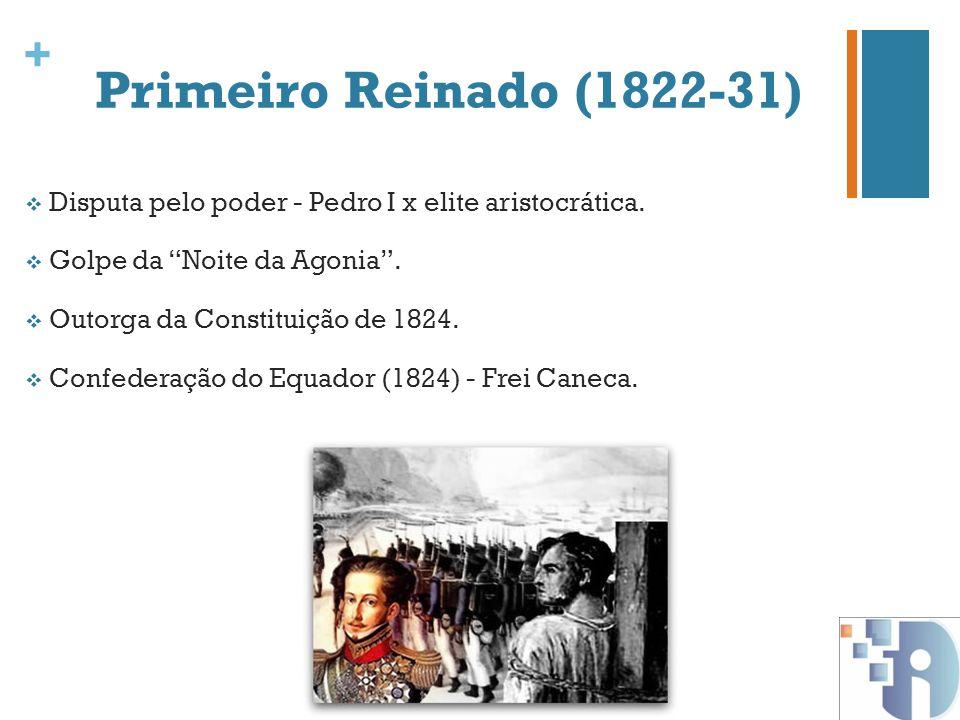 Primeiro Reinado (1822-31) Disputa pelo poder - Pedro I x elite aristocrática. Golpe da Noite da Agonia .