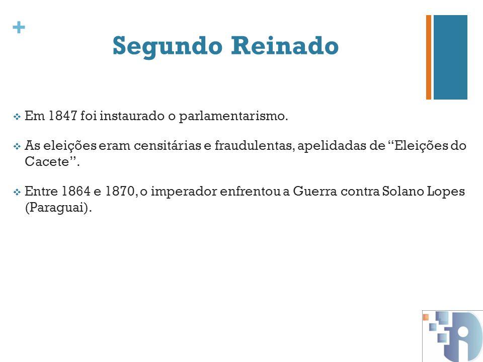 Segundo Reinado Em 1847 foi instaurado o parlamentarismo.