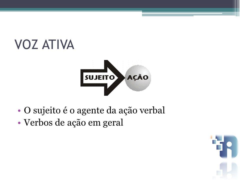 VOZ ATIVA O sujeito é o agente da ação verbal Verbos de ação em geral