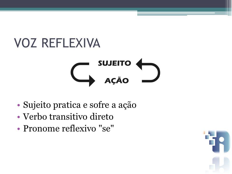 VOZ REFLEXIVA Sujeito pratica e sofre a ação Verbo transitivo direto