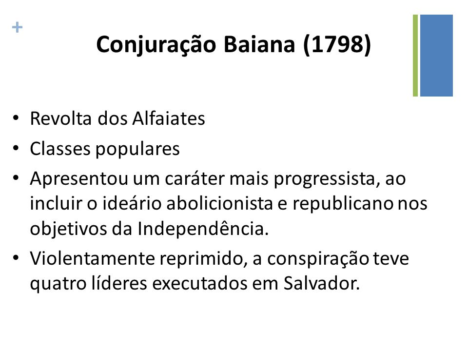 Conjuração Baiana (1798) Revolta dos Alfaiates Classes populares