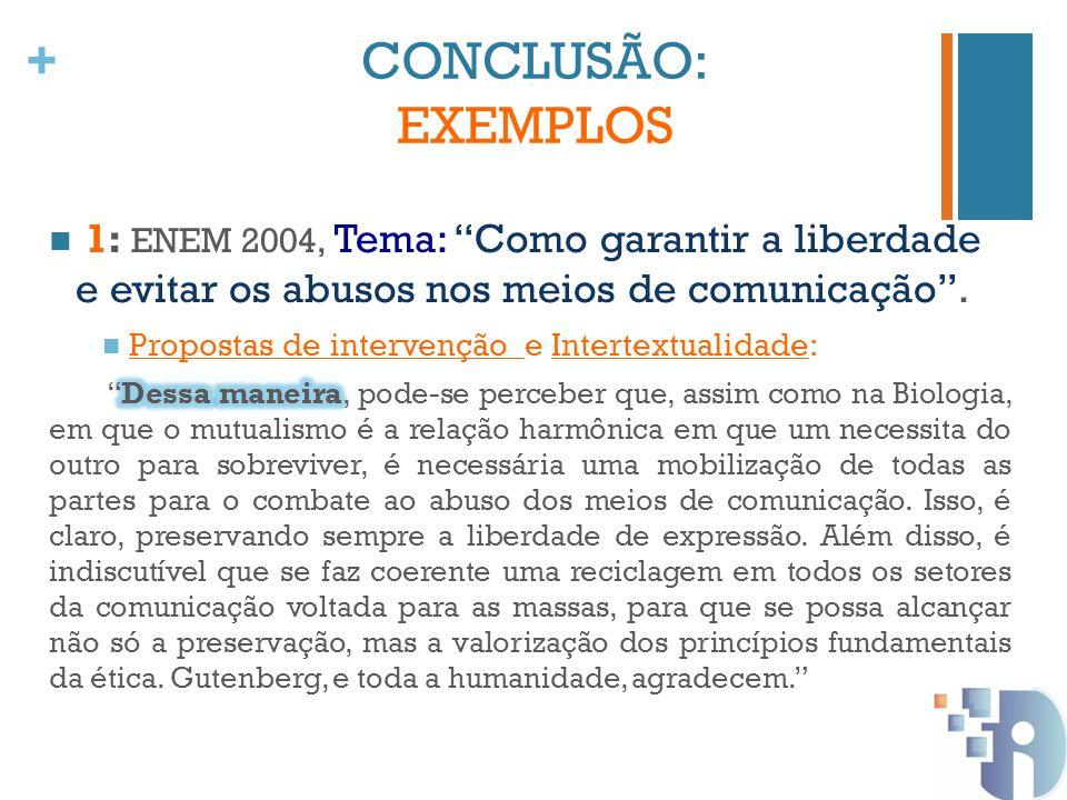 CONCLUSÃO: EXEMPLOS 1: ENEM 2004, Tema: Como garantir a liberdade e evitar os abusos nos meios de comunicação .