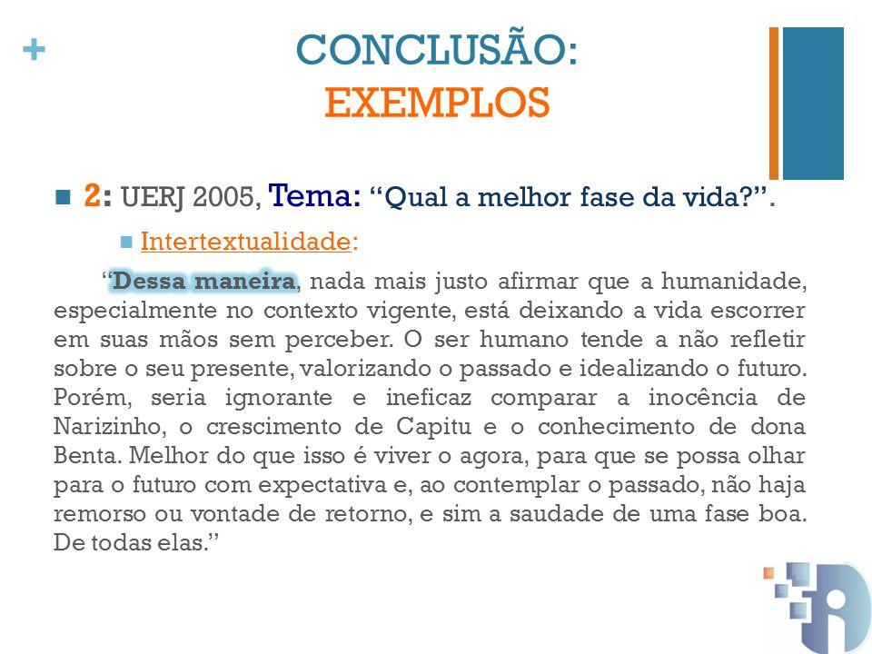 CONCLUSÃO: EXEMPLOS 2: UERJ 2005, Tema: Qual a melhor fase da vida .