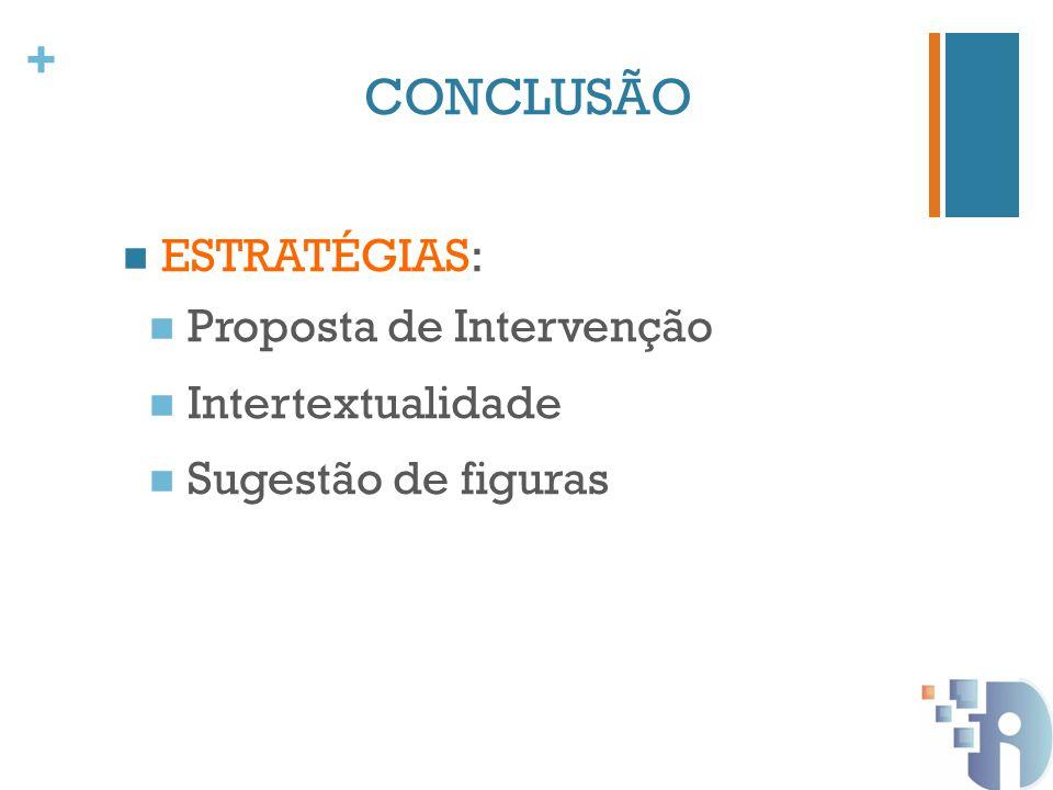 CONCLUSÃO ESTRATÉGIAS: Proposta de Intervenção Intertextualidade