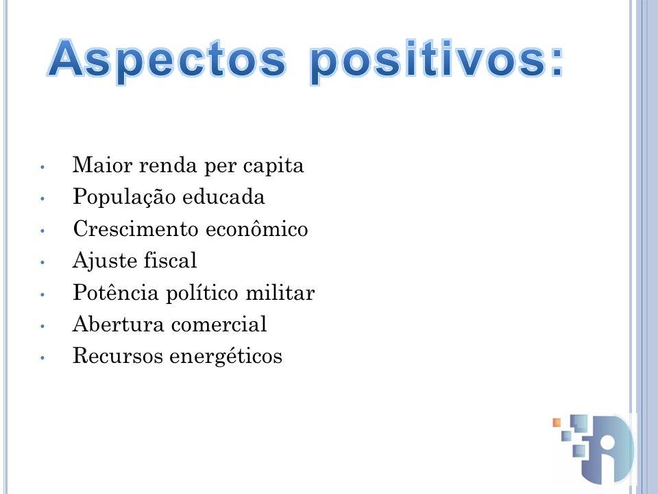 Aspectos positivos: Maior renda per capita População educada