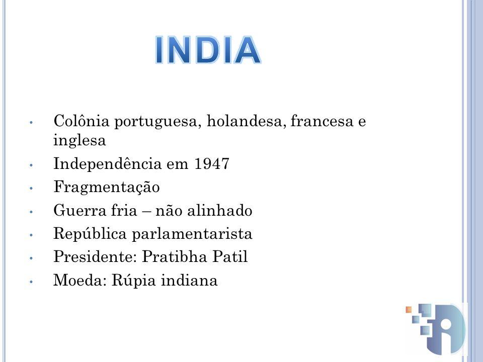 INDIA Colônia portuguesa, holandesa, francesa e inglesa