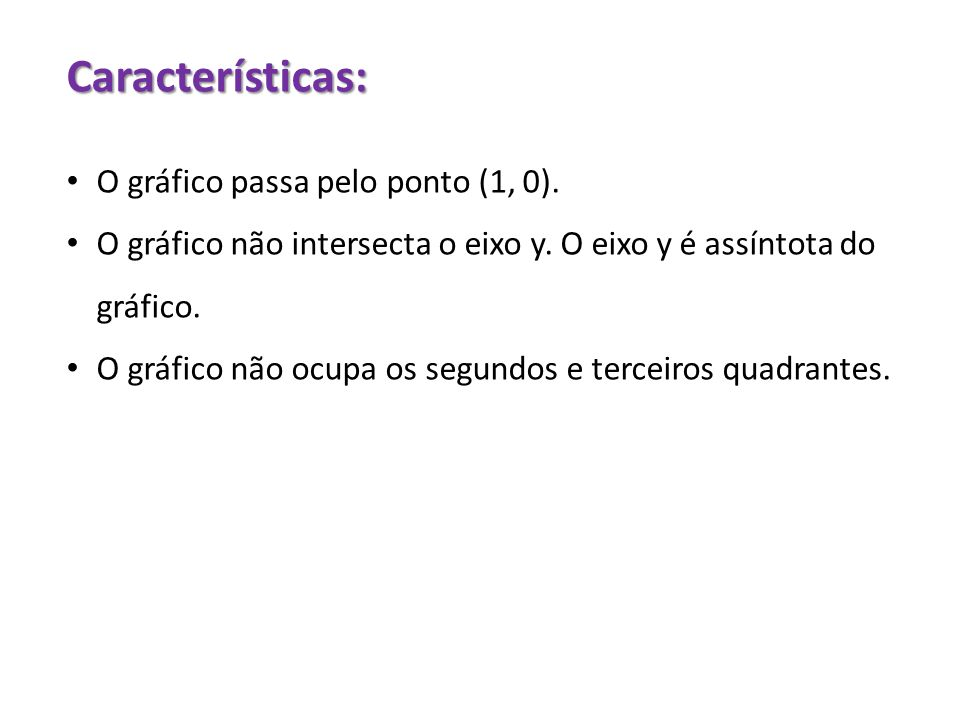 Características: O gráfico passa pelo ponto (1, 0).