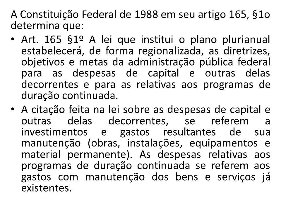 A Constituição Federal de 1988 em seu artigo 165, §1o determina que: