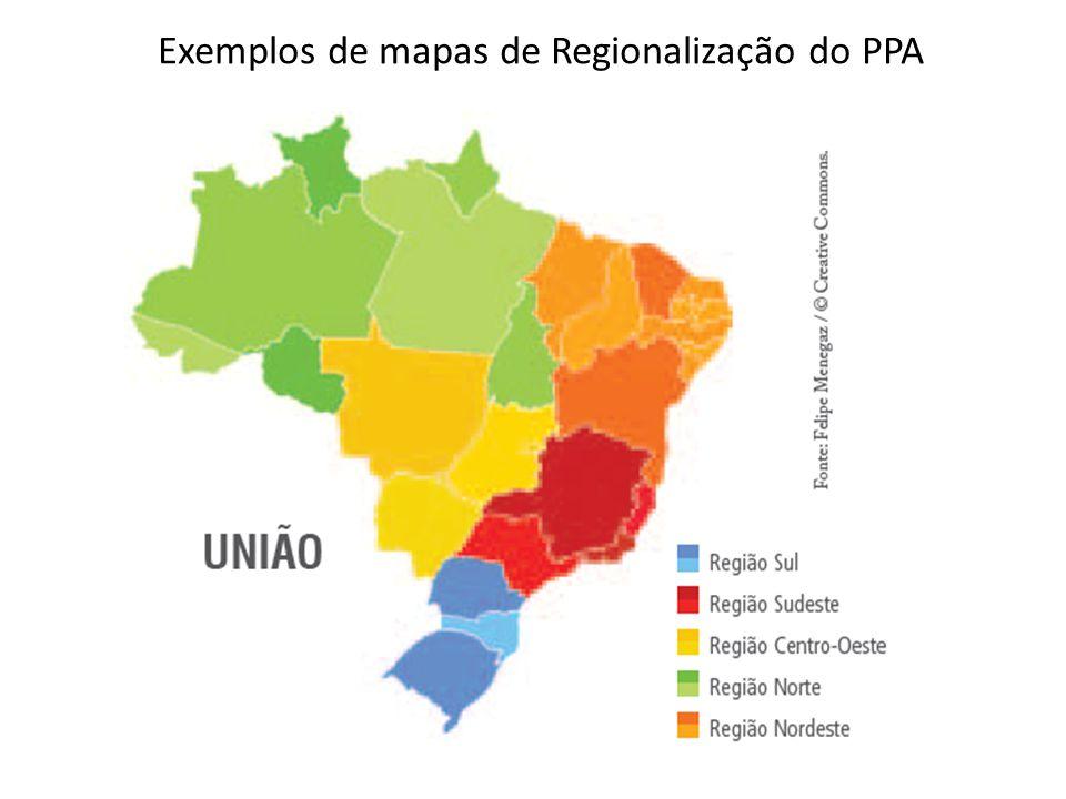 Exemplos de mapas de Regionalização do PPA
