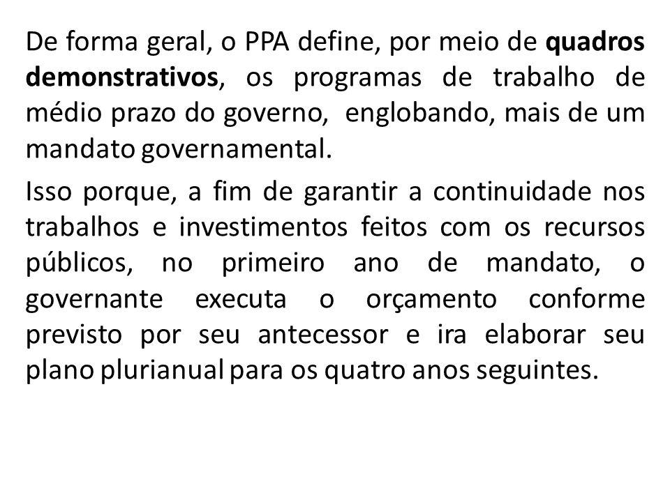 De forma geral, o PPA define, por meio de quadros demonstrativos, os programas de trabalho de médio prazo do governo, englobando, mais de um mandato governamental.