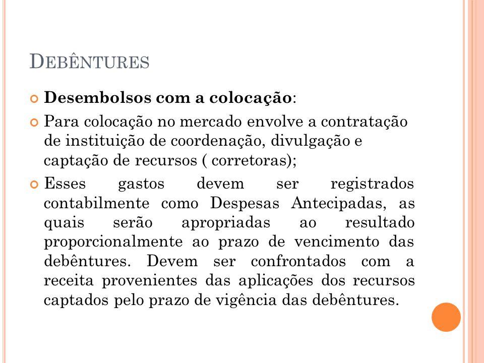Debêntures Desembolsos com a colocação: