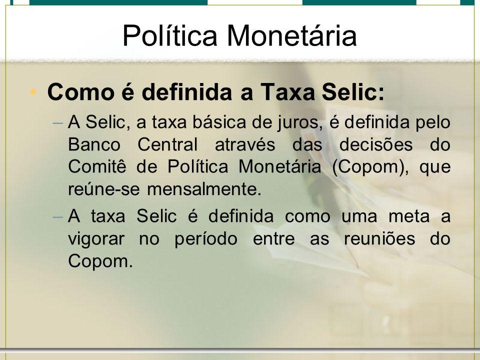 Política Monetária Como é definida a Taxa Selic: