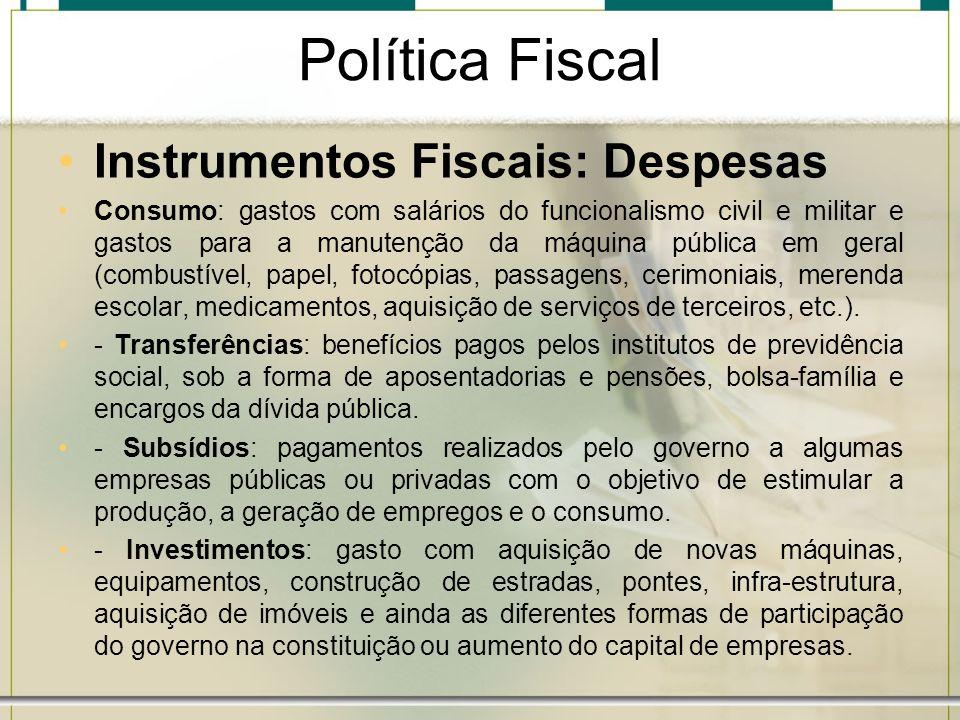 Política Fiscal Instrumentos Fiscais: Despesas