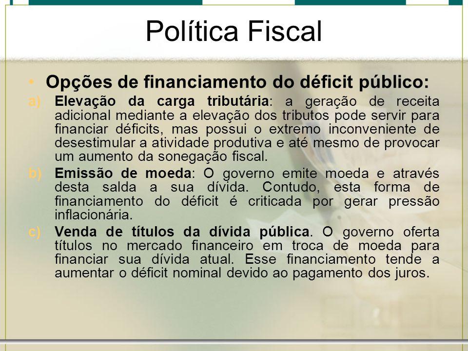 Política Fiscal Opções de financiamento do déficit público: