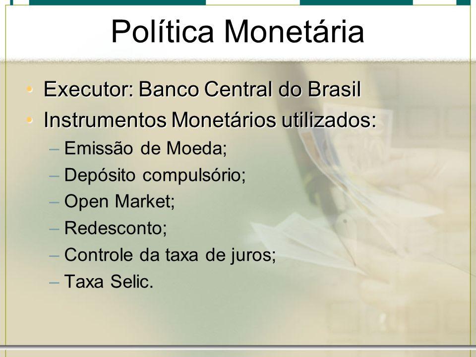 Política Monetária Executor: Banco Central do Brasil
