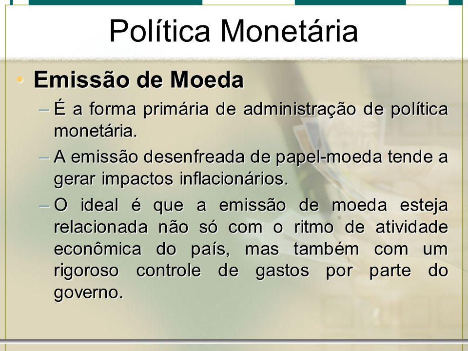 Política Monetária Emissão de Moeda