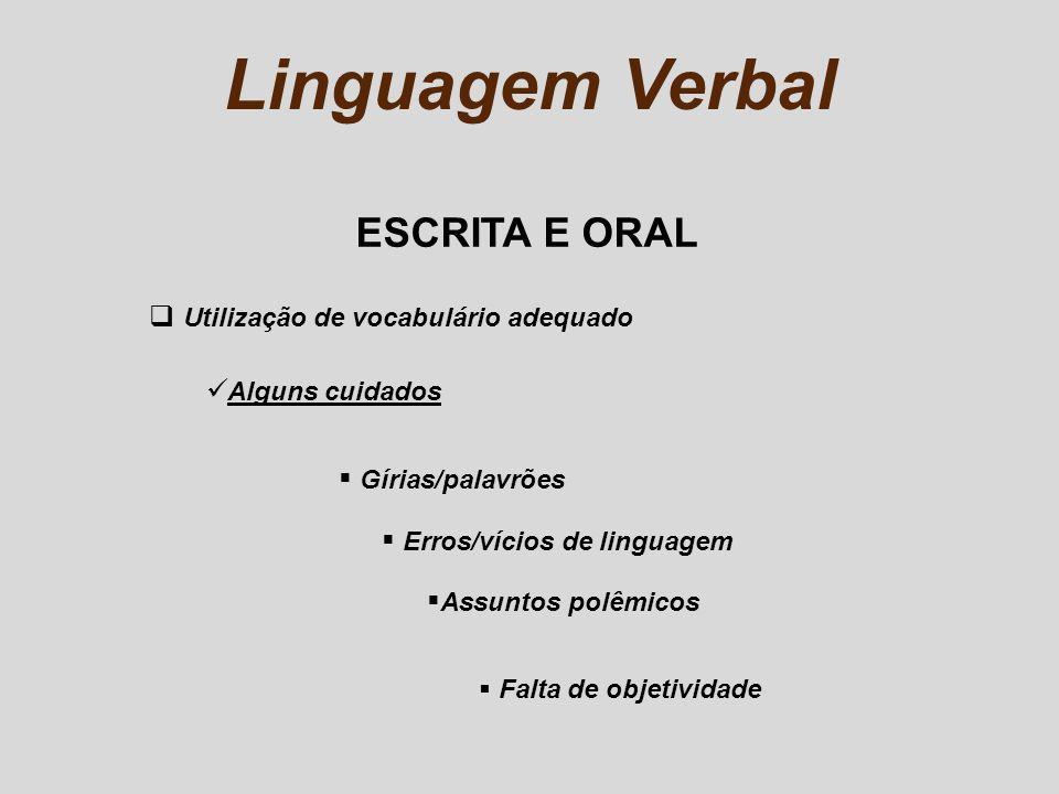 Linguagem Verbal ESCRITA E ORAL Utilização de vocabulário adequado