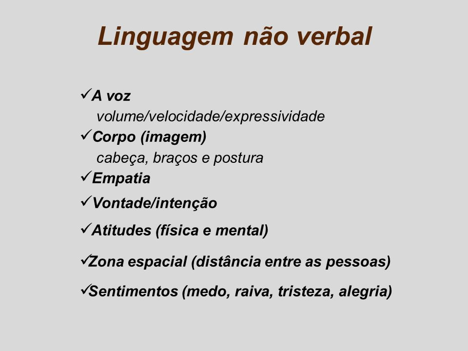 Linguagem não verbal A voz volume/velocidade/expressividade