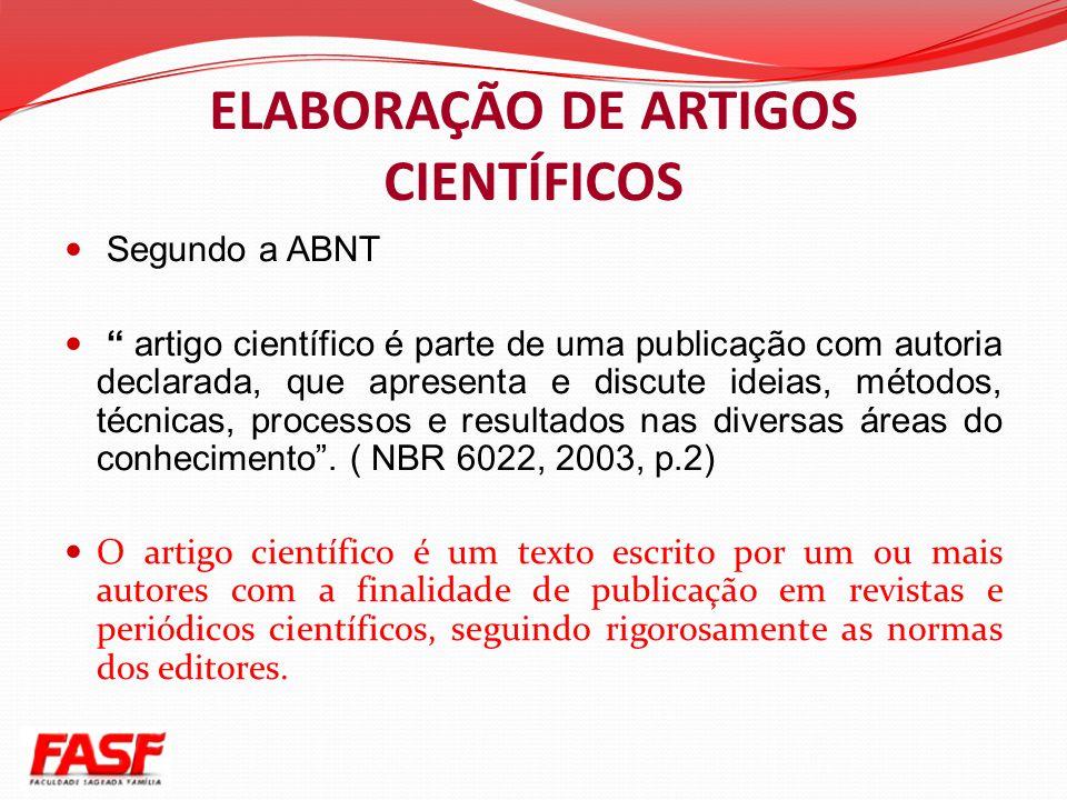 ELABORAÇÃO DE ARTIGOS CIENTÍFICOS
