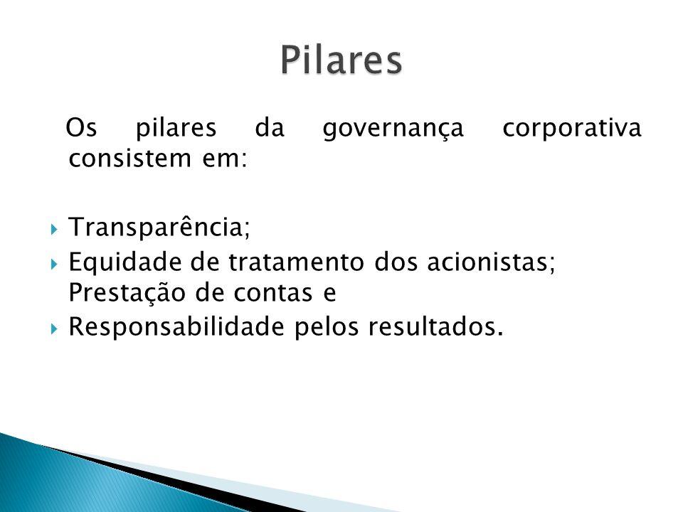 Pilares Os pilares da governança corporativa consistem em: