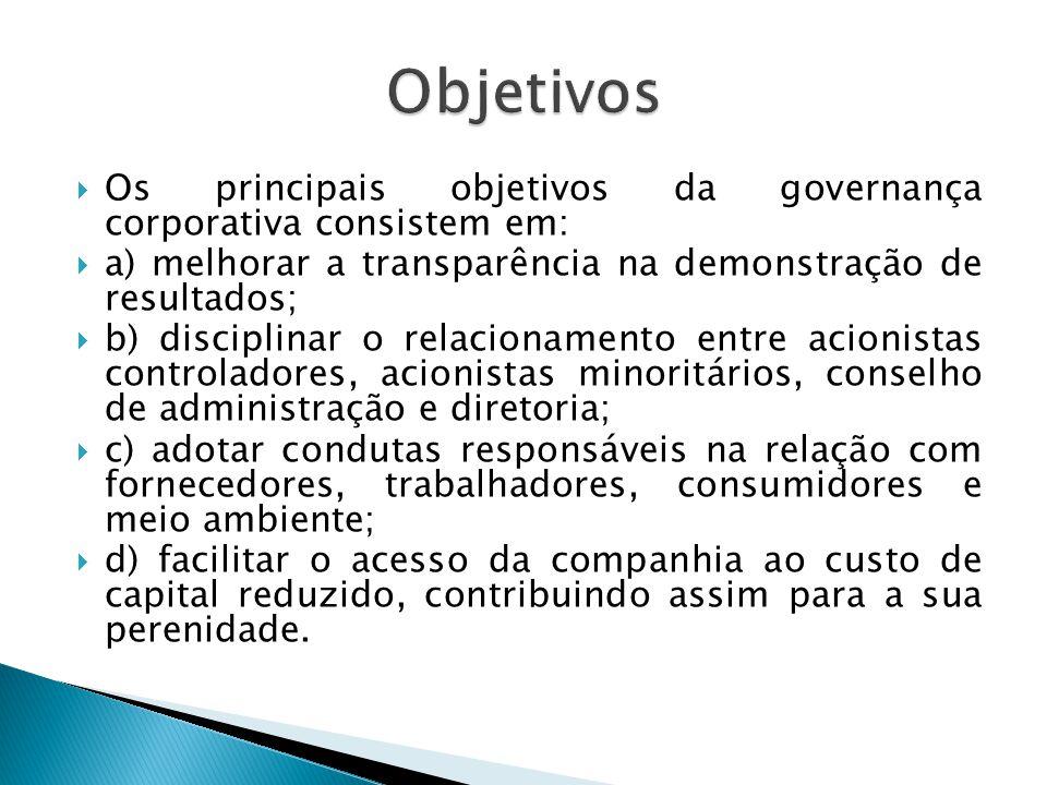 Objetivos Os principais objetivos da governança corporativa consistem em: a) melhorar a transparência na demonstração de resultados;
