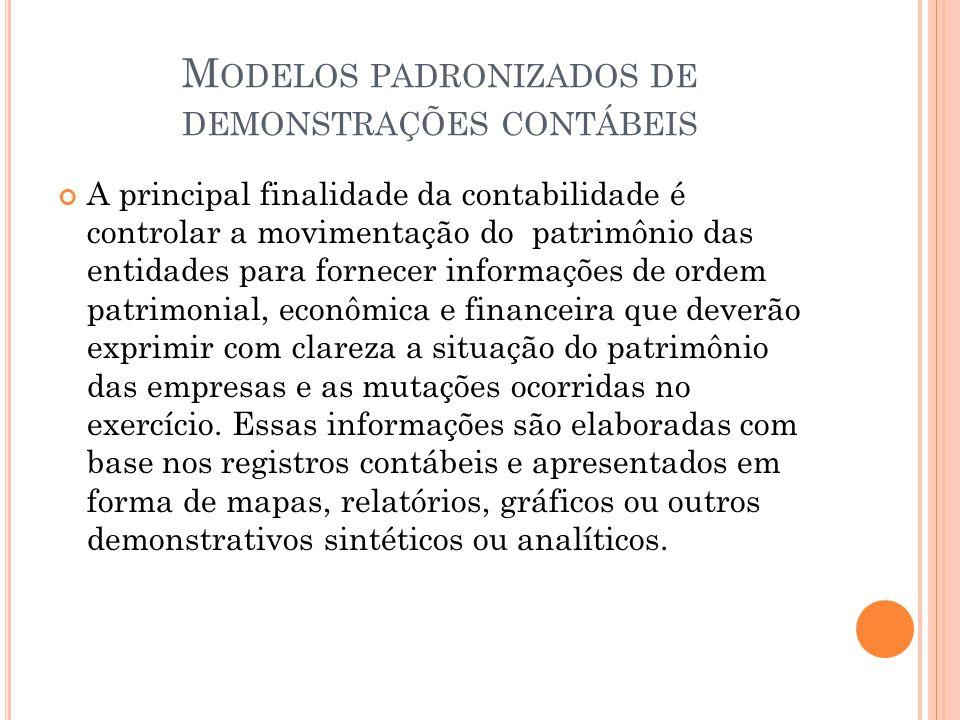 Modelos padronizados de demonstrações contábeis