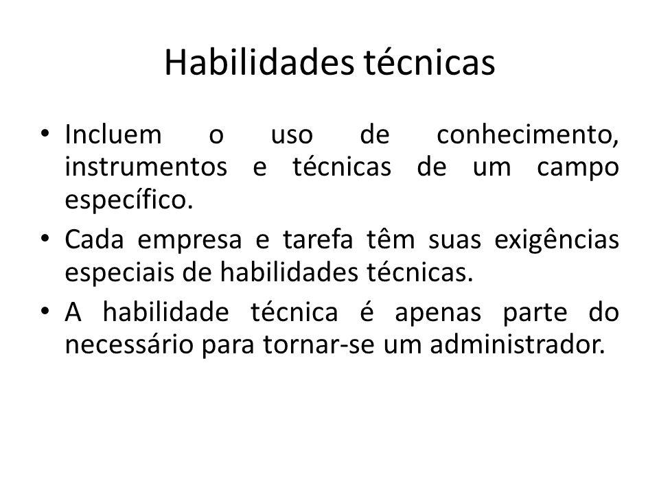 Habilidades técnicas Incluem o uso de conhecimento, instrumentos e técnicas de um campo específico.