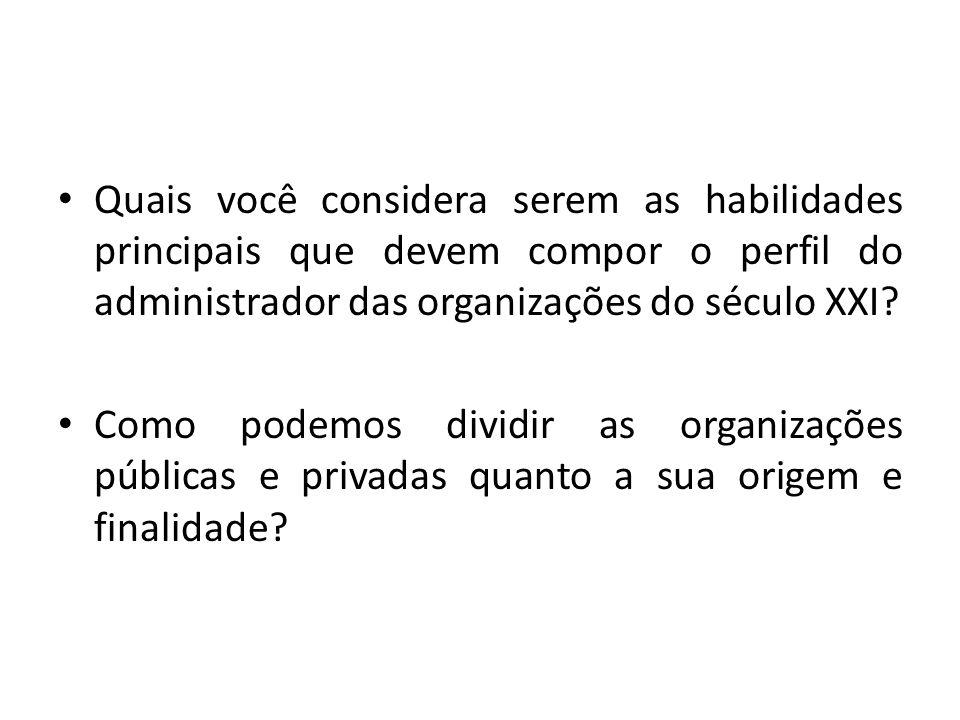 Quais você considera serem as habilidades principais que devem compor o perfil do administrador das organizações do século XXI