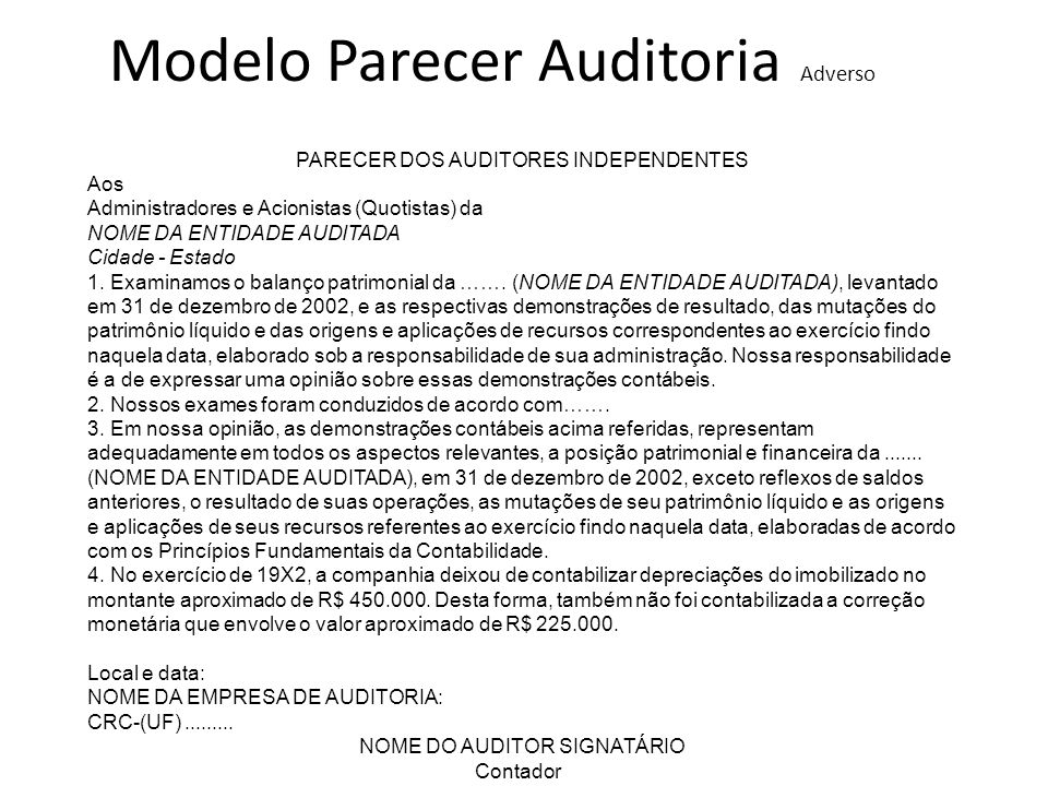 Modelo Parecer Auditoria Adverso