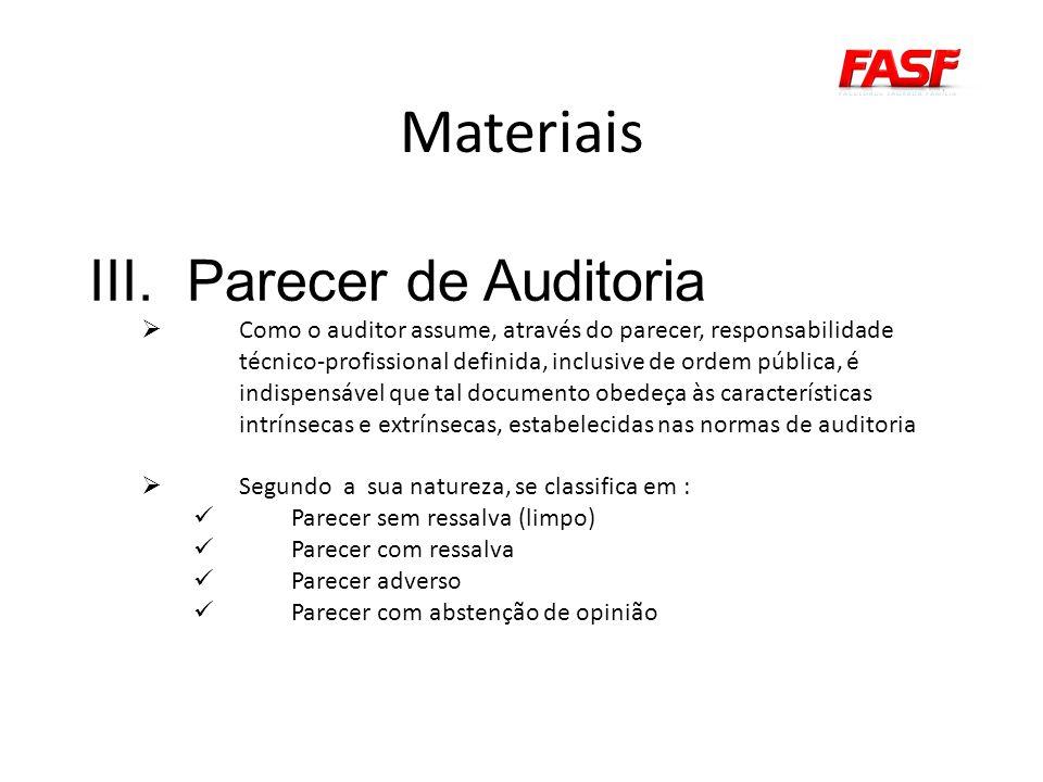 Materiais Parecer de Auditoria