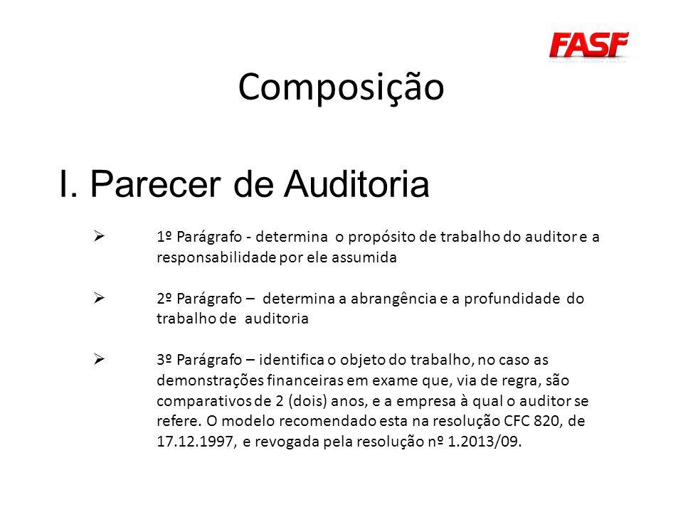 Composição I. Parecer de Auditoria