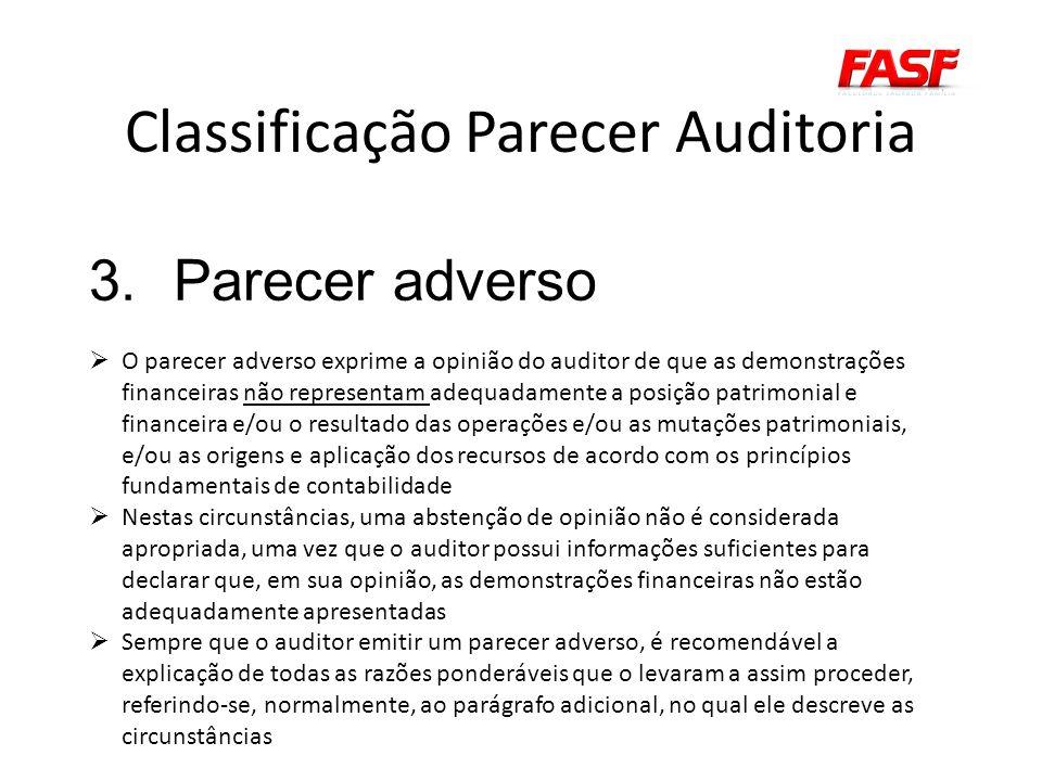 Classificação Parecer Auditoria