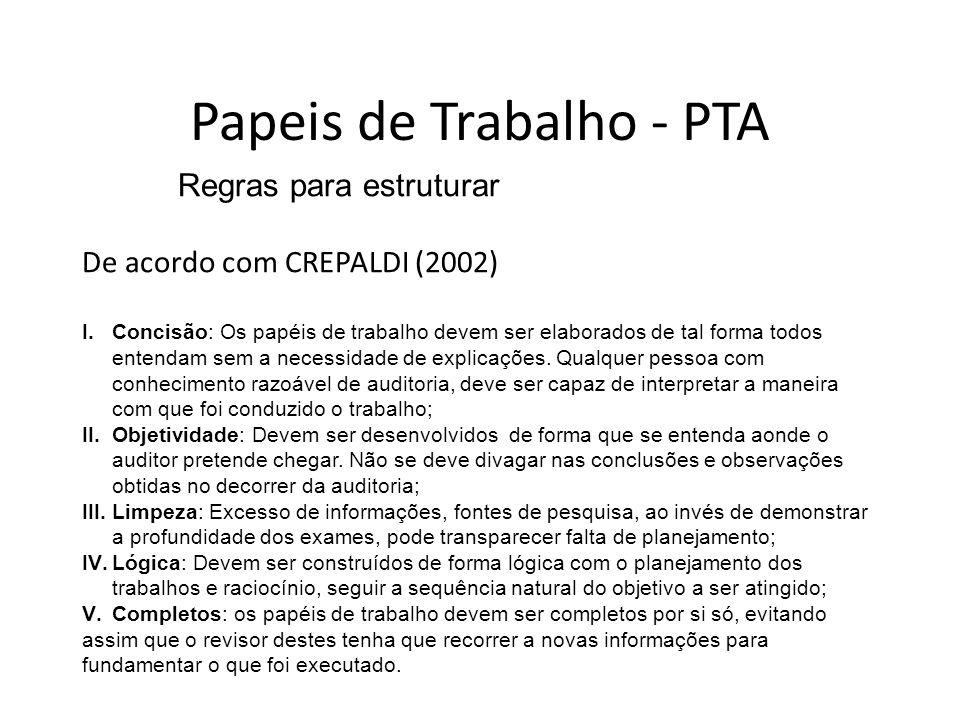 Papeis de Trabalho - PTA